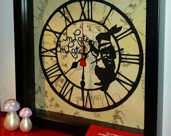 Alice in Wonderland Papercut Rabbit Clock