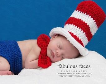 Newborn Dr Seuss hat and diaper cover- Newborn photography prop, newborn boy, newborn girl, crochet newborn hat, Dr Seuss hat outfit