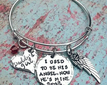 I used to be his angel, now he's mine - Bangle bracelet - Expandable Style Bracelet - Hand Stamped - Daddy - Memorial Bracelet