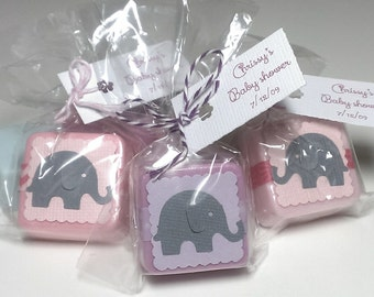 12 Elephant shower favor girl, pink favors, girl baby shower favor, elephant baby shower favors, circus themed baby shower