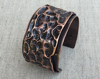 Hammered Copper Cuff Bracelet, Boho Bracelet