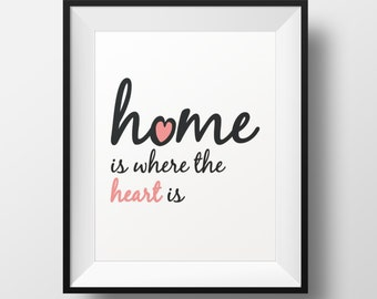 Home is Where the Heart is, Home Decor, Wall Art, Typography, Quote Print, Quote Poster, Pink, Instant Download, Printable