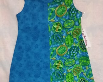 Little Girl's Blue and Green Turtle Dress - size 2T