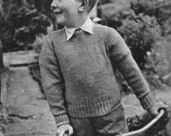 Vintage Knitting Pattern Boys Jumper pattern Intarsia
