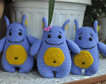 Crochet Blue monsters with yellow belly. Crochet toy. FREE SHIPPING.