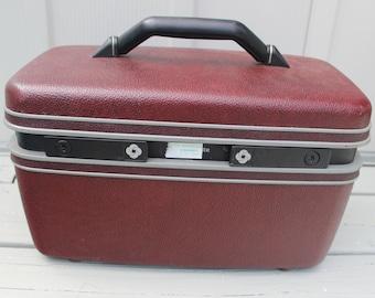 Samsonite Maroon Train/Make Up Case Vintage