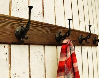 Reclaimed Wood Coat Rack, Wall Coat Rack, Wood Wall Hooks, Reclaimed Wood Wall Hooks, Iron Hooks,