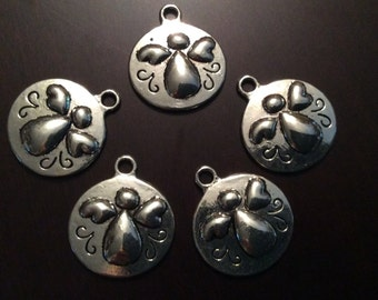 Angel charms package of 5 circle shaped Angel Charms Shiny Silver finish