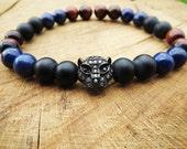 Gunmetal Cubic Zirconia Pave Leopard Bracelet, Lapis Lazuli Red Tiger Eye Matte Onyx Protection Bracelet , For Men