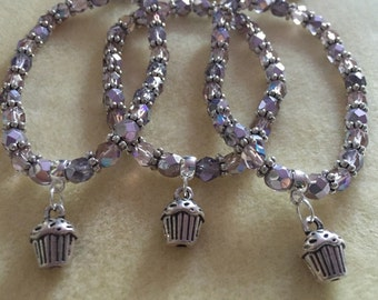 Lilac and Amerhyst Glass Cupcake Charm Bracelet