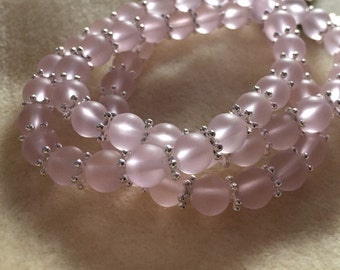 Frosted Pink Glass and Silver Bracelet