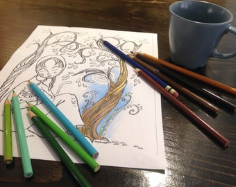 Adult Colouring Page, Quiet moment with cat, colouring page