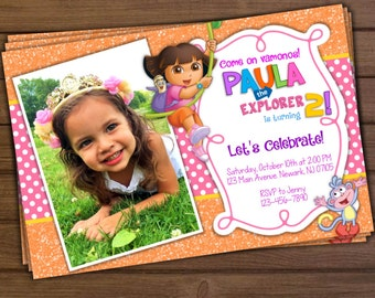 Dora the Explorer Invitation, Dora the Explorer Birthday Invitation, Dora Invitation