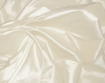 "Pure Silk Dupion Shantung in BRIDAL IVORY, Natural White fabric 137 cm (54"")available by the half metre"
