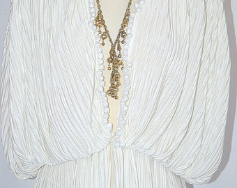 Vintage 1970s Heavy Long Gold Tone Chain With Dangling Gold Beads