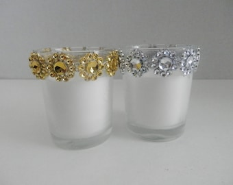 Wedding, 12 Votive candle, Glass votive candle gold or silver , Wedding decoration, Candle holder , Rhinestone votive