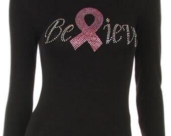 Breast Cancer Awareness Believe Pink Ribbon Rhinestone Iron on Shirt