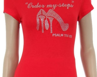 Order My Steps with Red Bottom Shoes Rhinestone Iron on Shirt