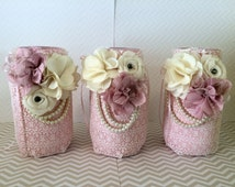 Shabby Chic Wedding Decor - Lace Covered Jars - Set of 3 - Shabby Chic Burlap - Lace Mason Jars - Shabby Chic Jar - Vintage Decorations