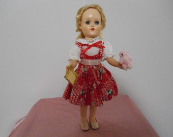 Vintage Ideal P-90 Butterscotch Blonde Toni Walker Doll 14 Inches with Accessories