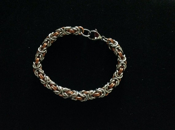 Byzantine bracelet in stainless steel and copper