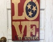 Nashville Tennessee Typography Art Print On Wood- Art For Boys Room- Tennessee Flag Sign Print- Nashville Decor- Industrial Tennessee Art