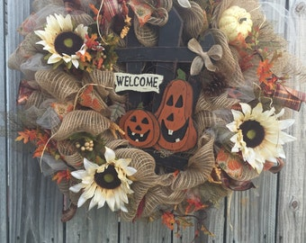 Rustic fall Welcome wreath.