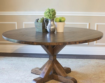 Solid Wood Round X-Base Table