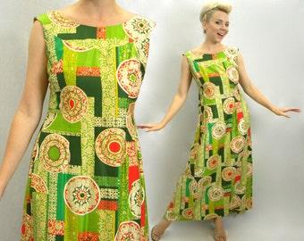70s Green Hawaiian Tiki Maxi Dress | TikiPrint Long Sleeveless Dress | Malihini Hawaii | Medium