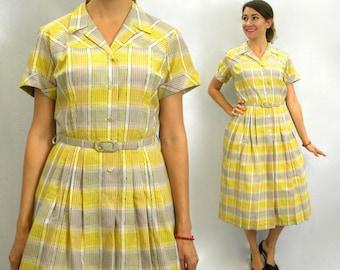 50s Yellow Plaid Cotton Dress | Shirtwaist Dress | Dan River | Large