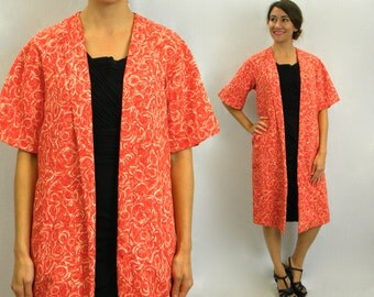 Vintage 60s Orange Floral Coat | Long Print Jacket, Small