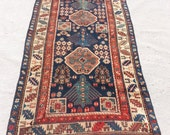 RESERVE Size:9 ft by 3.10 ft Handmade Rug Antique Caucasin Worn Blue Long Carpet