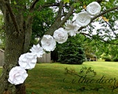Paper Flowers, Set of 8, Outdoor Wedding Decor, Wedding Archway, All White Paper Flowers