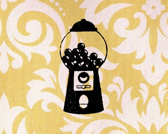 Gumball Machine Stamp: Wood Mounted Rubber Stamp