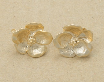Flower Earrings, 925 Sterling Silver Post, Jewelry Craft Supplies, Matte Gold Plated Over Brass - 2 Pieces-[AE0026]-MG