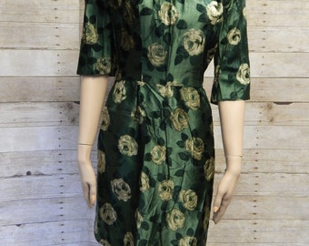 50's Green Silk Dress w/ 3-D Velvet Floral  Print