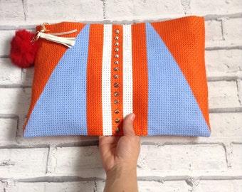 Clutch bag funky design tassel and Pom Pom