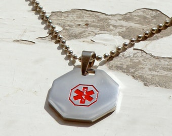 Medical Alert Necklace - Medical ID Necklace - Personalized Necklace - Emergency ID Necklace