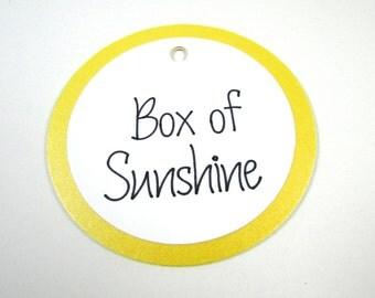 Box of Sunshine Gift Tags, SET OF 4, Favor Tags, Handmade