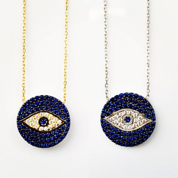 evil eye necklace, Sterling Silver, Cubic Zirconia, ON SALE NOW
