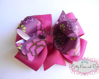 Fuschia Layer Hair Bow, Purple Hair Bow, 4 inch Hair Bow