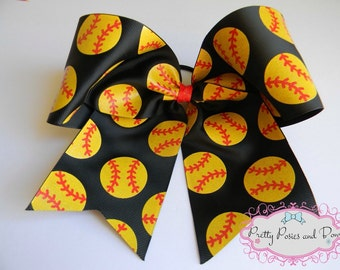 Softball Hair Bow, Glitter Softball Hair Bow, Large Softball Hair Bow, Softball Cheer Bow