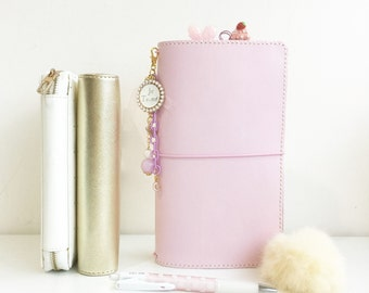 Pastel Pale Pink Pelledori  Leather Journal/ Travelers Notebook