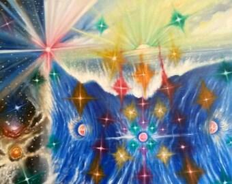 Water Birth - 20x16 Oil Painting on Canvas,  Mystical Art, Cosmic Art, Space Art, Religious Art, Zen, Meditation Art, Stars Scape, Star Art