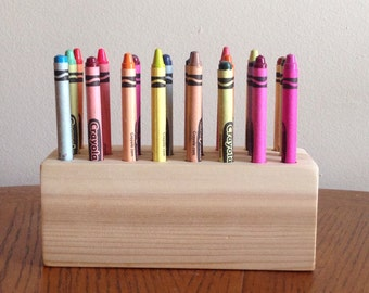 Wood Crayon Holder - Handmade - 24 crayons included