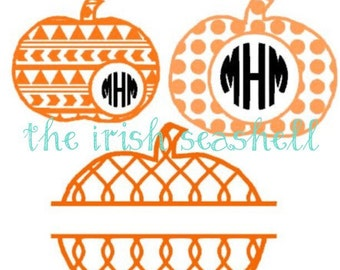 Pumpkin svg dxf for silhouette cameo aztec, chain, and polka dot bundle pack