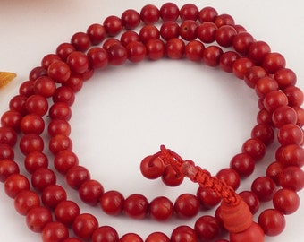 108 MALA beads red coral Buddhist prayer prostration bm24 Rosary necklace