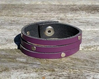 Purple leather studded bracelet, leather cuff