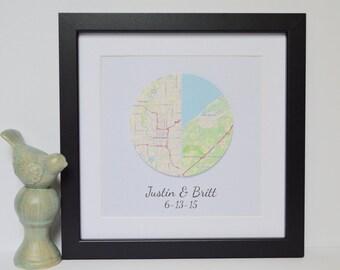 Anniversary Gift - Paper Anniversary, Dating Anniversary, Long Distance Relationship, Map Art, You Make my World Go Round