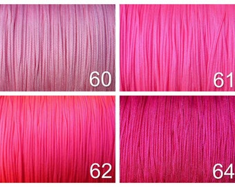 1 mm Nylon Cord - Shamballa - Macrame - Kumihimo - lt pink, neon lt pink, neon pink, fuchsia